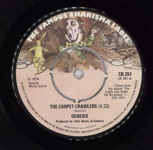 "GENESIS The Carpet Crawlers (1974 UK 7"" vinyl single with intact four prong centre, also including The Waiting Room (Evil Jam)."