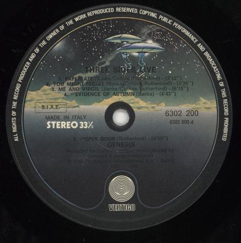 Genesis Three Sides Live 2-LP vinyl record set (Double Album) Italian GEN2LTH727266