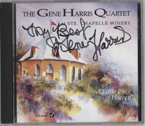 Gene Harris A Little Piece Of Heaven - Autographed CD album (CDLP) US GEHCDAL712207
