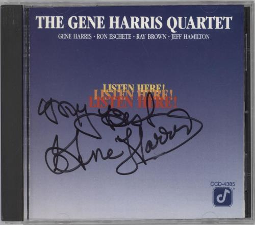 Gene Harris Listen Here! - Autographed CD album (CDLP) US GEHCDLI712209