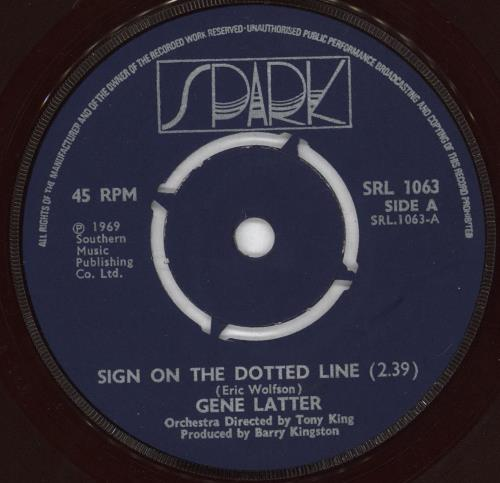 """Gene Latter Sign On The Dotted Line 7"""" vinyl single (7 inch record) UK GKV07SI720690"""