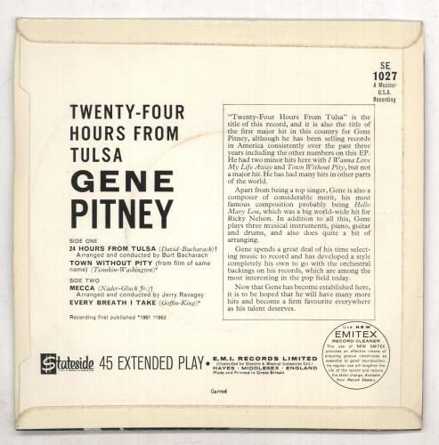 "Gene Pitney Twenty-Four Hours From Tulsa EP - 2nd 7"" vinyl single (7 inch record) UK GPT07TW473624"