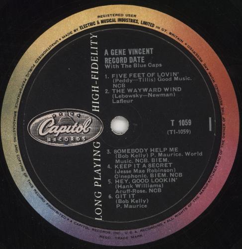 Gene Vincent A Gene Vincent Record Date - 1st vinyl LP album (LP record) UK GNVLPAG610356