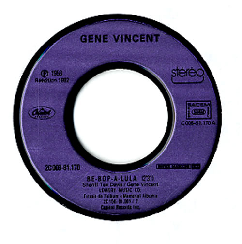 """Gene Vincent Be-Bop-A-Lula 7"""" vinyl single (7 inch record) French GNV07BE610695"""