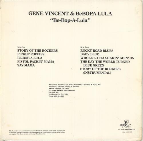 Gene Vincent Be-Bop-A-Lula vinyl LP album (LP record) US GNVLPBE691910