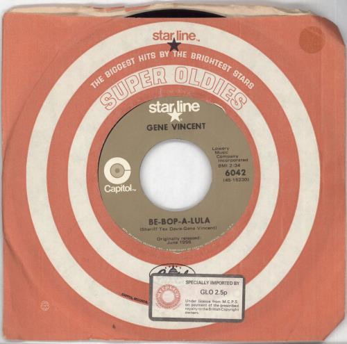 "Gene Vincent Be-Bop-A-Lula 7"" vinyl single (7 inch record) US GNV07BE713225"