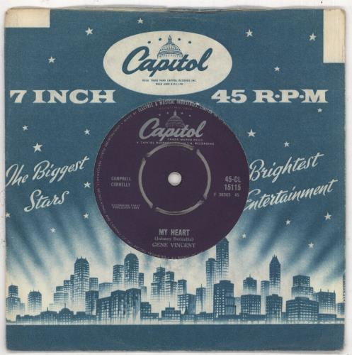 "Gene Vincent My Heart 7"" vinyl single (7 inch record) UK GNV07MY546710"