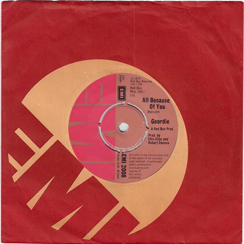 "Geordie All Because Of You 7"" vinyl single (7 inch record) UK GDI07AL133148"
