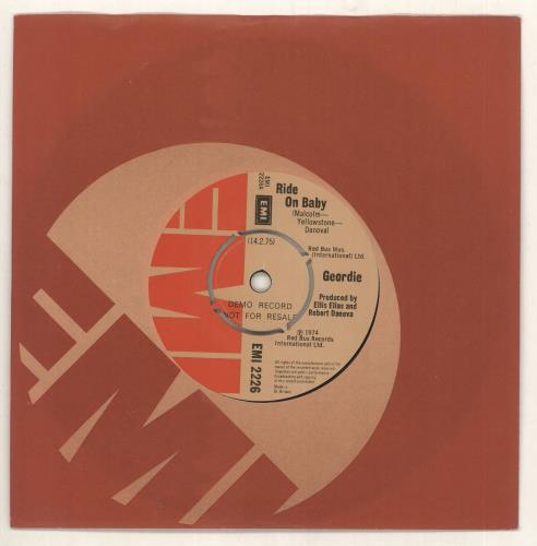 """Geordie Ride On Baby 7"""" vinyl single (7 inch record) UK GDI07RI733504"""