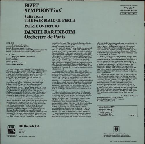 Georges Bizet Symphonic In C/ Suite From The Fair Maid Of Perth - Quad vinyl LP album (LP record) UK BZTLPSY751493