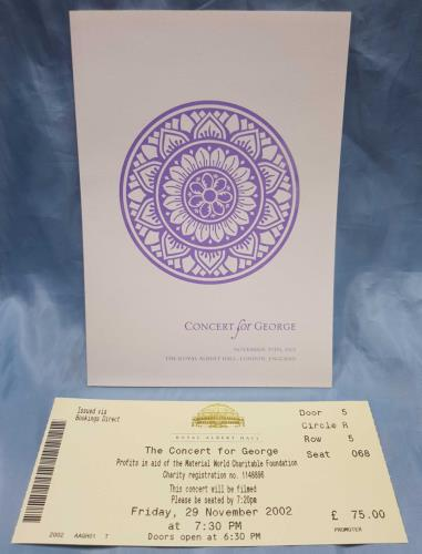 George Harrison Concert For George + Schedule & Ticket Stub tour programme UK GHATRCO712480