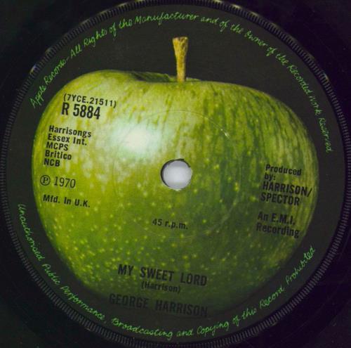 "George Harrison My Sweet Lord - 2nd - Solid 7"" vinyl single (7 inch record) UK GHA07MY554936"