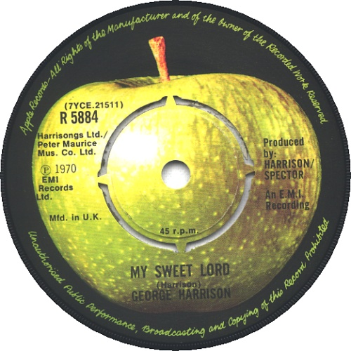 "George Harrison My Sweet Lord - 3rd - P/S - 4pr 7"" vinyl single (7 inch record) UK GHA07MY45253"