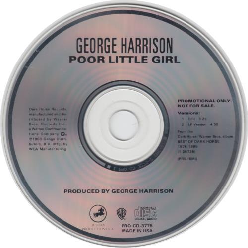 """George Harrison Poor Little Girl CD single (CD5 / 5"""") US GHAC5PO02900"""