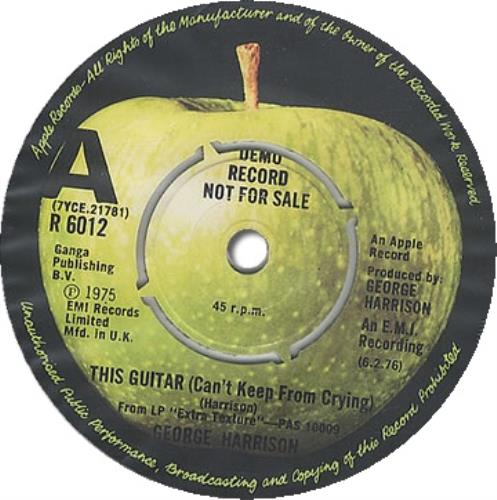 """George Harrison This Guitar (Can't Keep From Crying) 7"""" vinyl single (7 inch record) UK GHA07TH85378"""