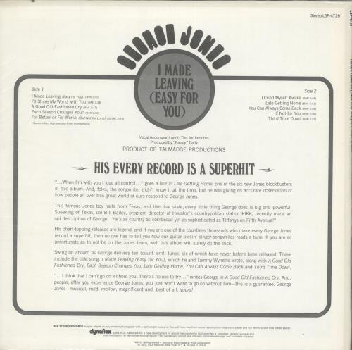 George Jones I Made Learning (Easy For You) vinyl LP album (LP record) US GEJLPIM699713
