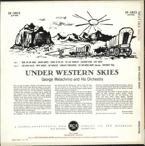 George Melachrino Under Western Skies vinyl LP album (LP record) UK H25LPUN708780
