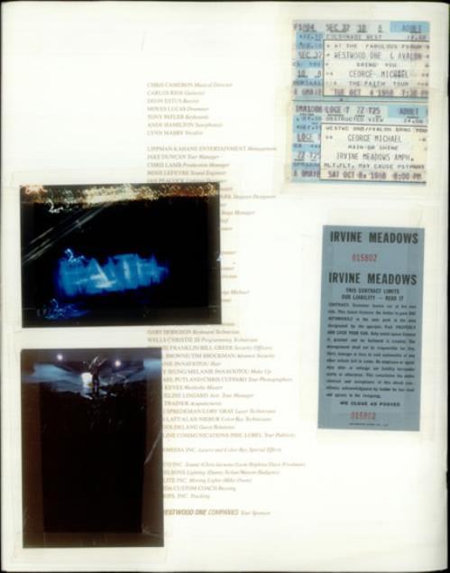 George Michael Faith + Ticket Stubs tour programme US GEOTRFA539290