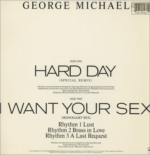 "George Michael Hard Day - stickered shrink 12"" vinyl single (12 inch record / Maxi-single) US GEO12HA07723"