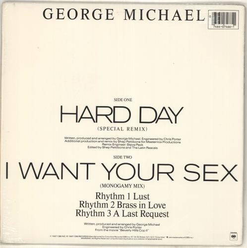 "George Michael Hard Day - stickered shrink 12"" vinyl single (12 inch record / Maxi-single) US GEO12HA07723"