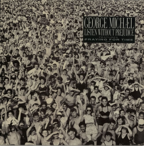 George Michael Listen Without Prejudice - Sticker vinyl LP album (LP record) UK GEOLPLI184776
