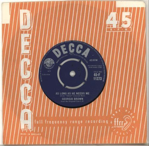 "Georgia Brown As Long As He Needs Me 7"" vinyl single (7 inch record) UK 3GB07AS696988"