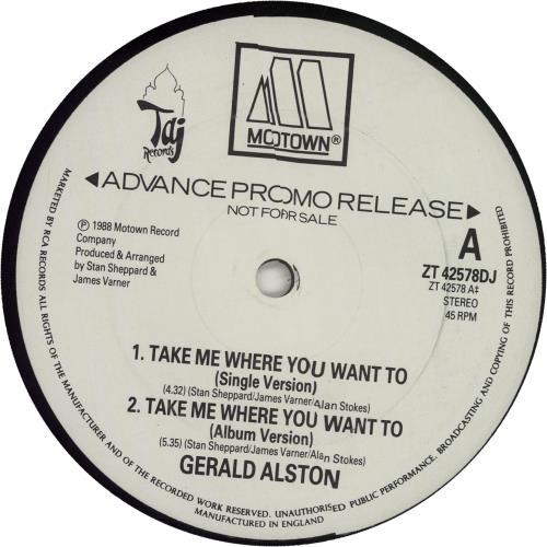 "Gerald Alston Take Me Where You Want To 12"" vinyl single (12 inch record / Maxi-single) UK G0212TA655836"