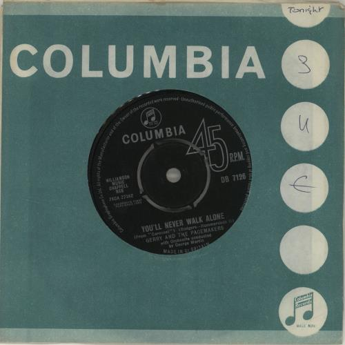 """Gerry And The Pacemakers You'll Never Walk Alone 7"""" vinyl single (7 inch record) UK GPM07YO294650"""
