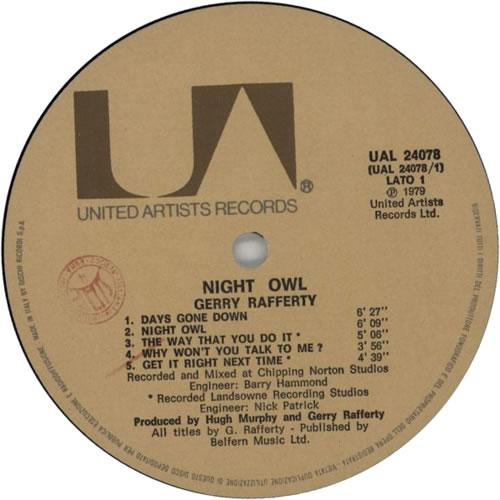 Gerry Rafferty Night Owl vinyl LP album (LP record) Italian GERLPNI579120