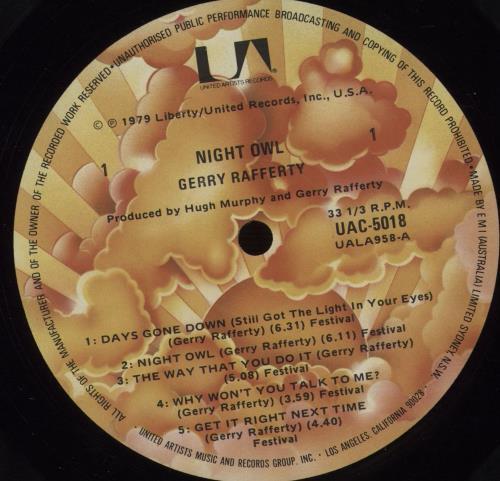 Gerry Rafferty Night Owl vinyl LP album (LP record) Australian GERLPNI671135