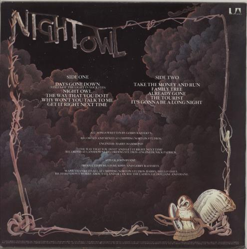 Gerry Rafferty Night Owl vinyl LP album (LP record) US GERLPNI762415
