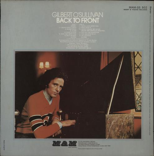 Gilbert O'Sullivan Back To Front - 1st - Complete - EX vinyl LP album (LP record) UK GOSLPBA764739