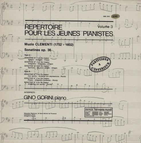 Gino Gorini Clementi: Repertoire Pour Les Jeunes Pianistes Volume 3 vinyl LP album (LP record) French 23RLPCL761093