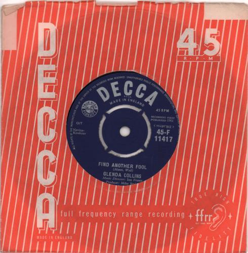 "Glenda Collins Find Another Fool 7"" vinyl single (7 inch record) UK 6GC07FI668726"