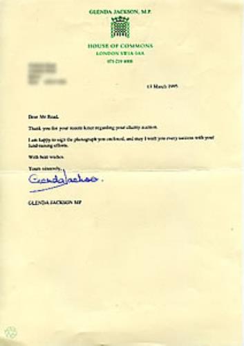 Glenda Jackson Signed Letter On House Of Commons Notepaper memorabilia UK GJ2MMSI283225