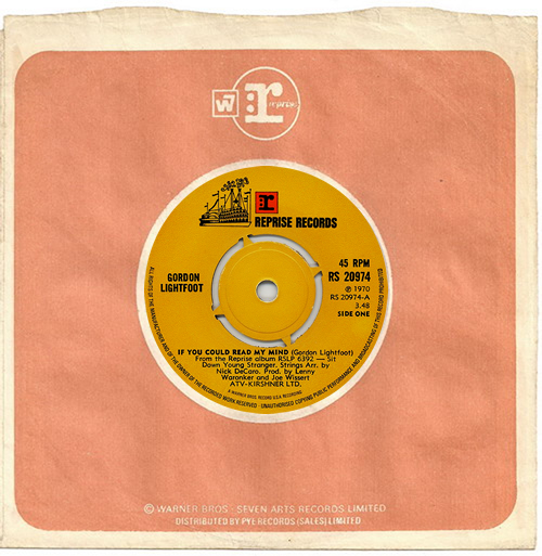 """Gordon Lightfoot If You Could Read My Mind - 1st 7"""" vinyl single (7 inch record) UK GDN07IF385666"""