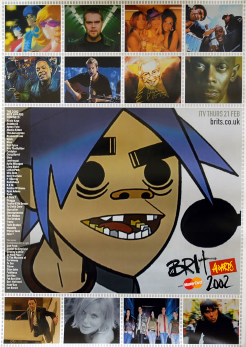 Gorillaz Brit Awards 2002 poster UK GLZPOBR622145