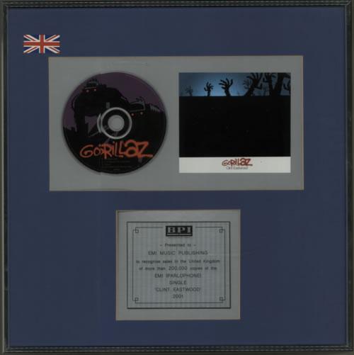 Gorillaz Clint Eastwood - Silver award disc UK GLZAWCL602170