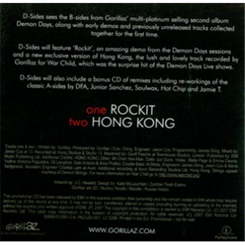"""Gorillaz D-Sides CD single (CD5 / 5"""") UK GLZC5DS421260"""
