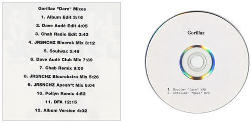 Gorillaz Dare - Mixes US Promo 2-disc CD/DVD set (359254)