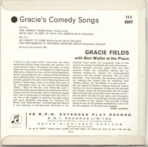 "Gracie Fields Gracie's Comedy Songs EP 7"" vinyl single (7 inch record) UK GFE07GR697593"