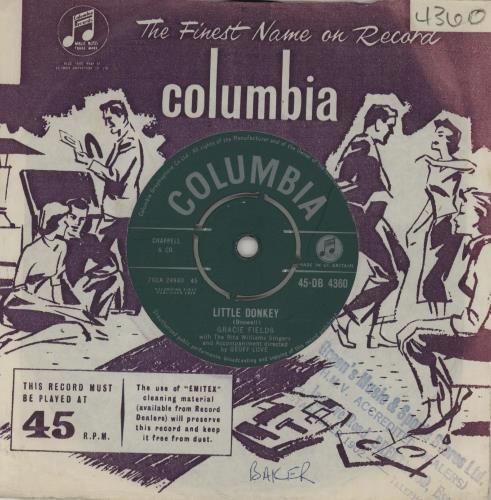 """Gracie Fields Little Donkey 7"""" vinyl single (7 inch record) UK GFE07LI564017"""