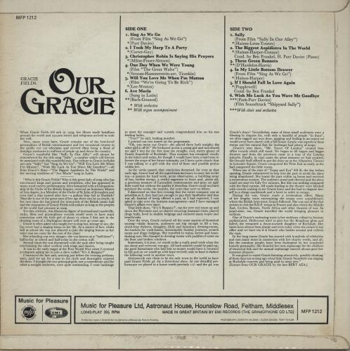 Gracie Fields Our Gracie vinyl LP album (LP record) UK GFELPOU648861