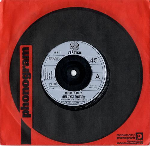 "Graham Bonnet Night Games 7"" vinyl single (7 inch record) UK GBO07NI598878"