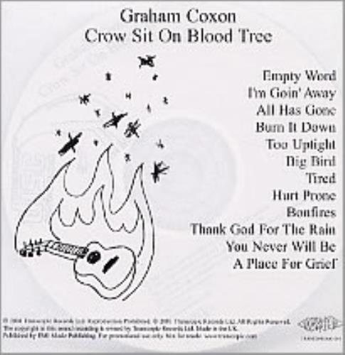 Graham Coxon Crow Sit On Blood Tree CD-R acetate UK GCXCRCR193692