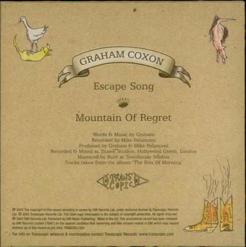"Graham Coxon Escape Song CD single (CD5 / 5"") UK GCXC5ES225304"