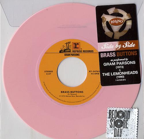 "Gram Parsons Brass Buttons - RSD15 - Pink Vinyl 7"" vinyl single (7 inch record) UK GRM07BR632866"