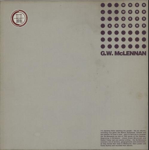 "Grant McLennan When Word Gets Around 12"" vinyl single (12 inch record / Maxi-single) UK GMC12WH104732"
