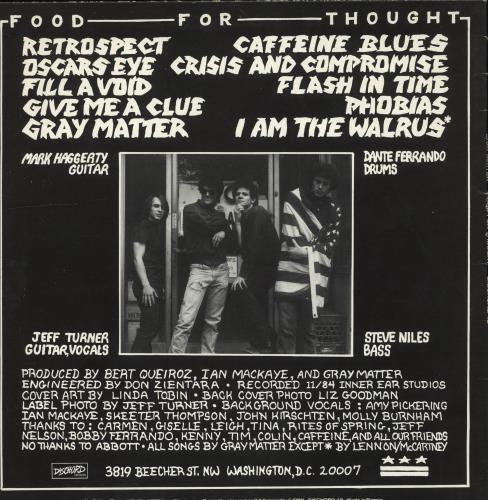 Gray Matter Food For Thought vinyl LP album (LP record) US Q1DLPFO705363