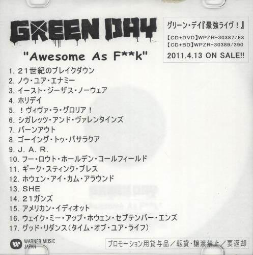 Green Day Awesome As F**k CD-R acetate Japanese GRNCRAW688972